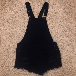 American Eagle Black Short Overalls (Distressed)